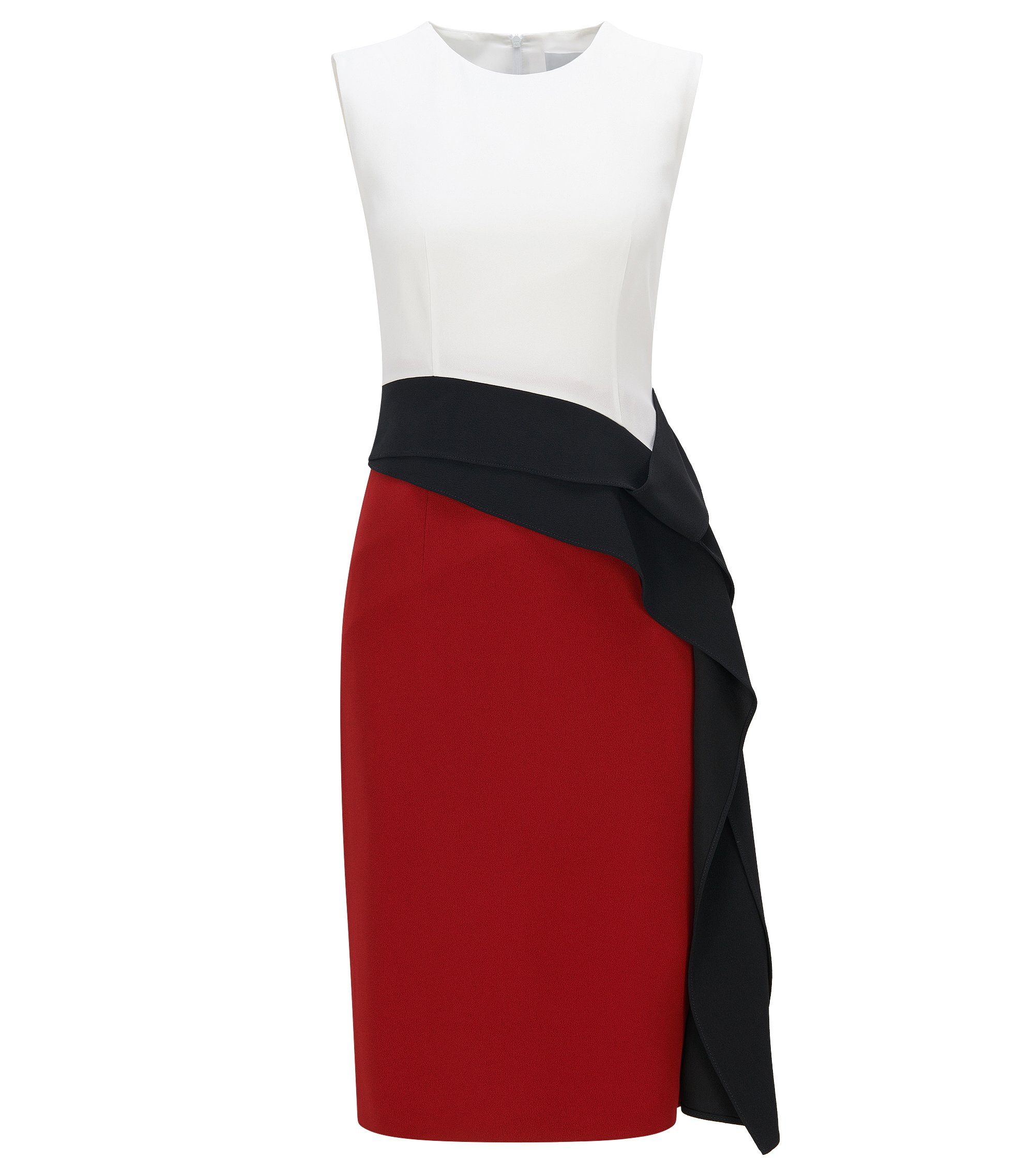 Slim-fit shiftdress met gedrapeerd lintdetail, Rood