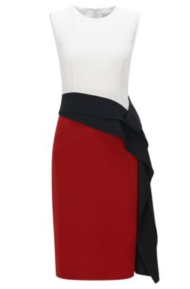 Slim-fit shift dress with draped ribbon detail, Red