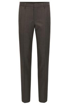 Pantalon Slim Fit en laine vierge provenant de la fabrique Tesse, Marron