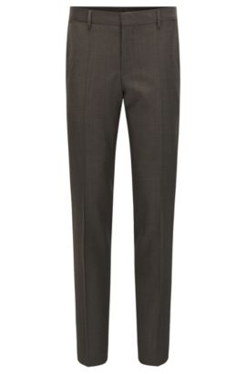 Pantaloni slim fit in lana vergine del lanificio Tesse, Marrone