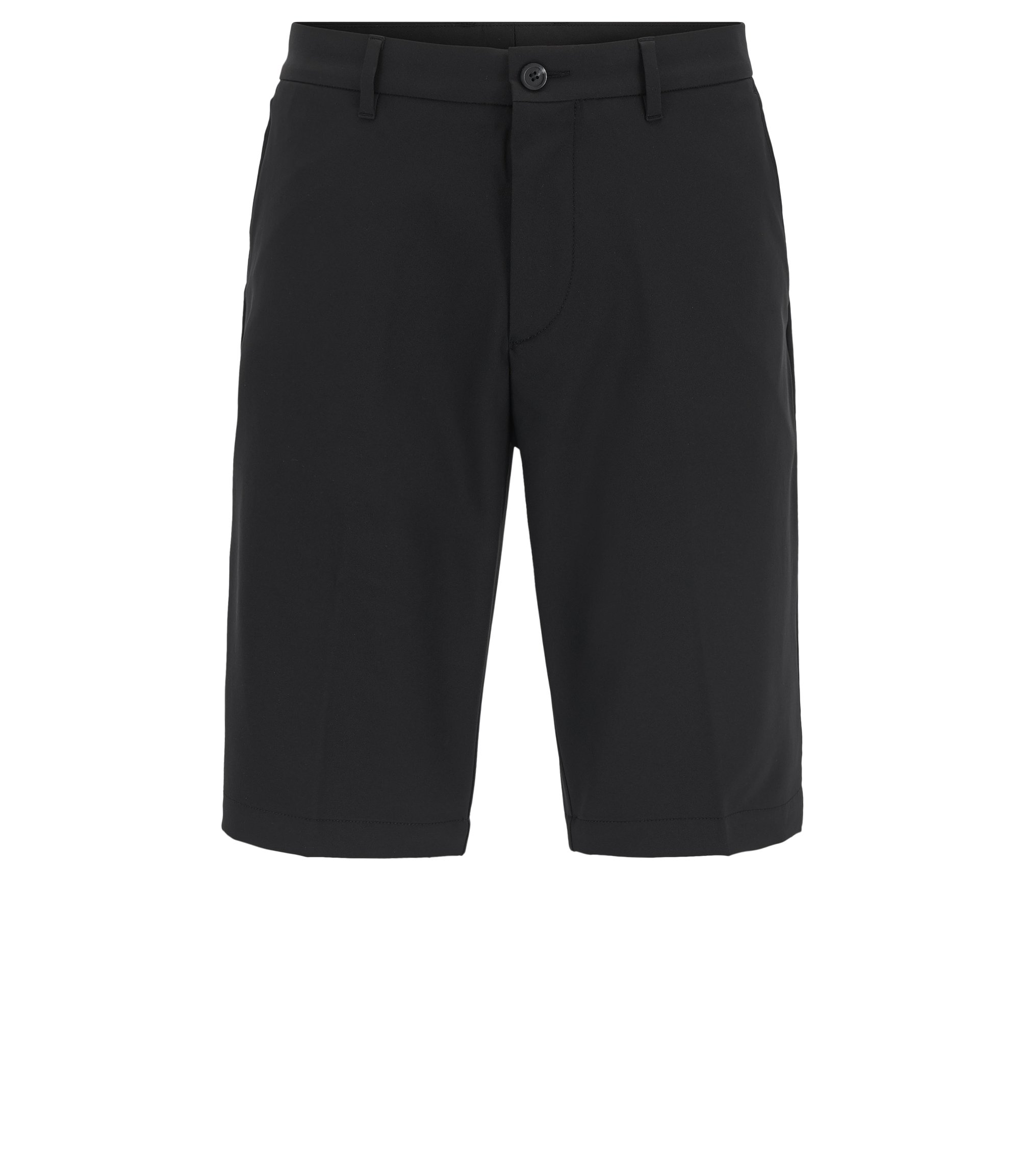 Regular-Fit Golfshorts aus Material-Mix, Schwarz