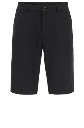 Regular-fit golfshort in technisch twill, Zwart