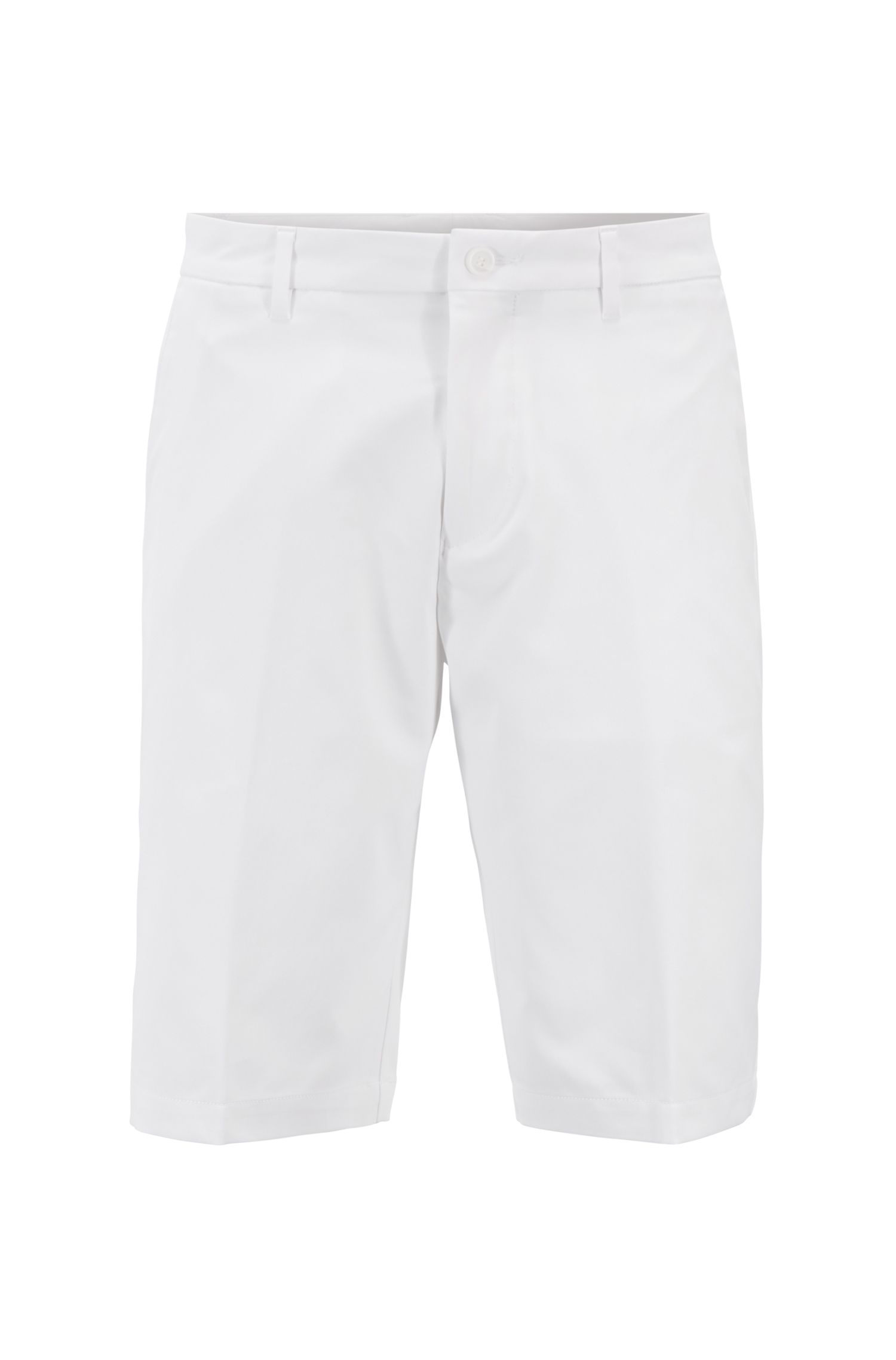 Regular-fit golf shorts in technical twill, White