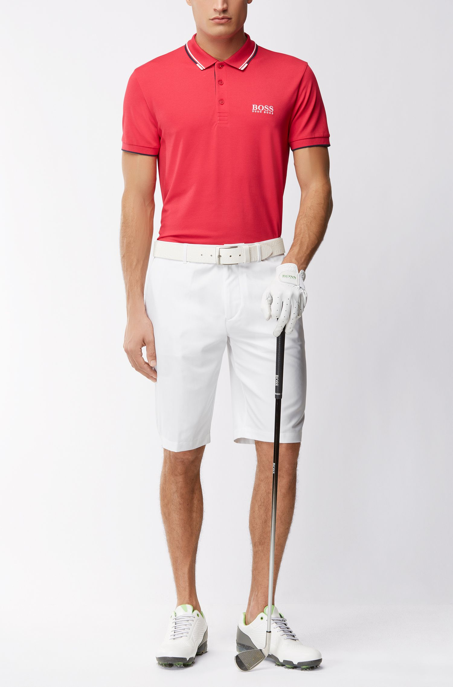 Regular-Fit Golfshorts aus Material-Mix