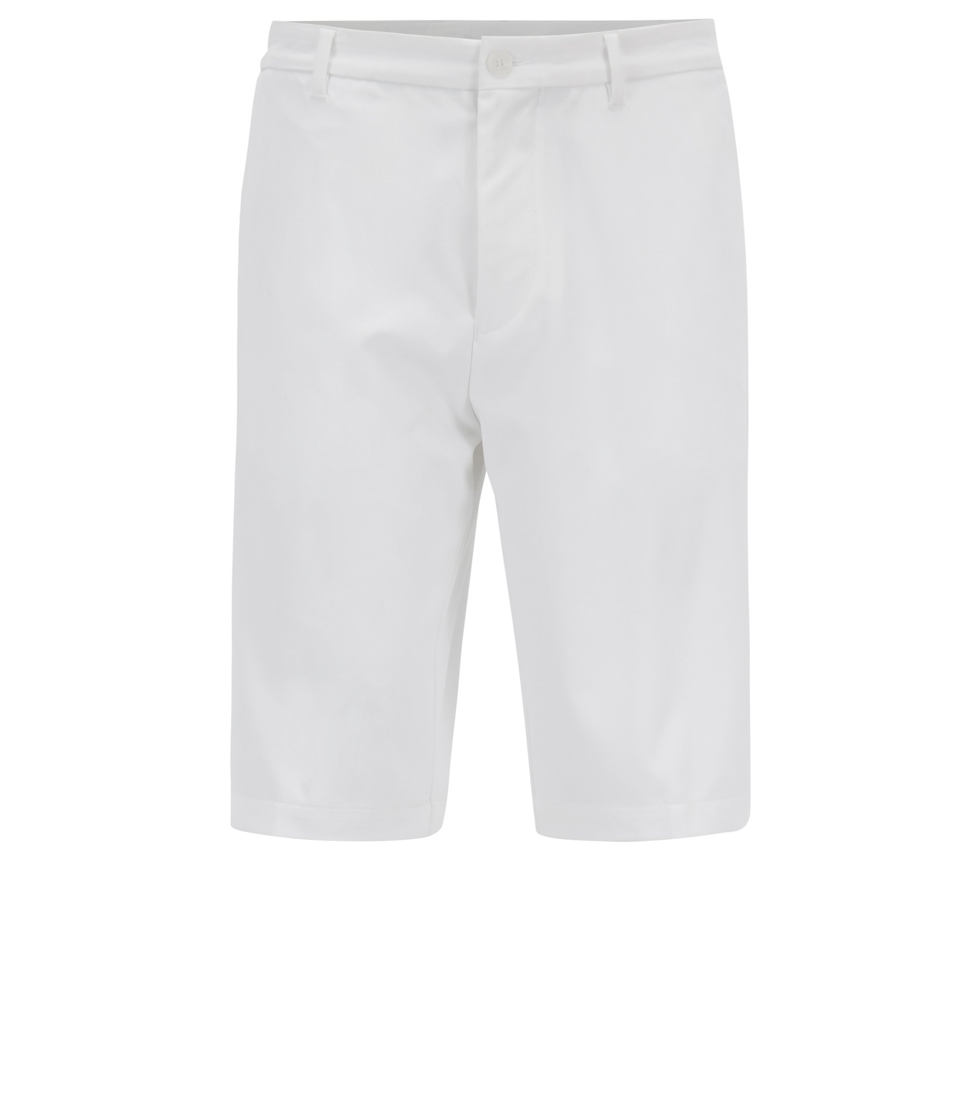 Shorts regular fit de golf en sarga técnica, Blanco