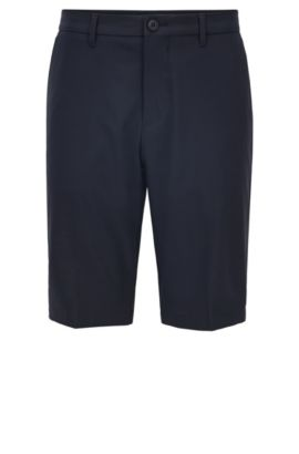Short de golf Regular Fit en twill technique, Bleu foncé