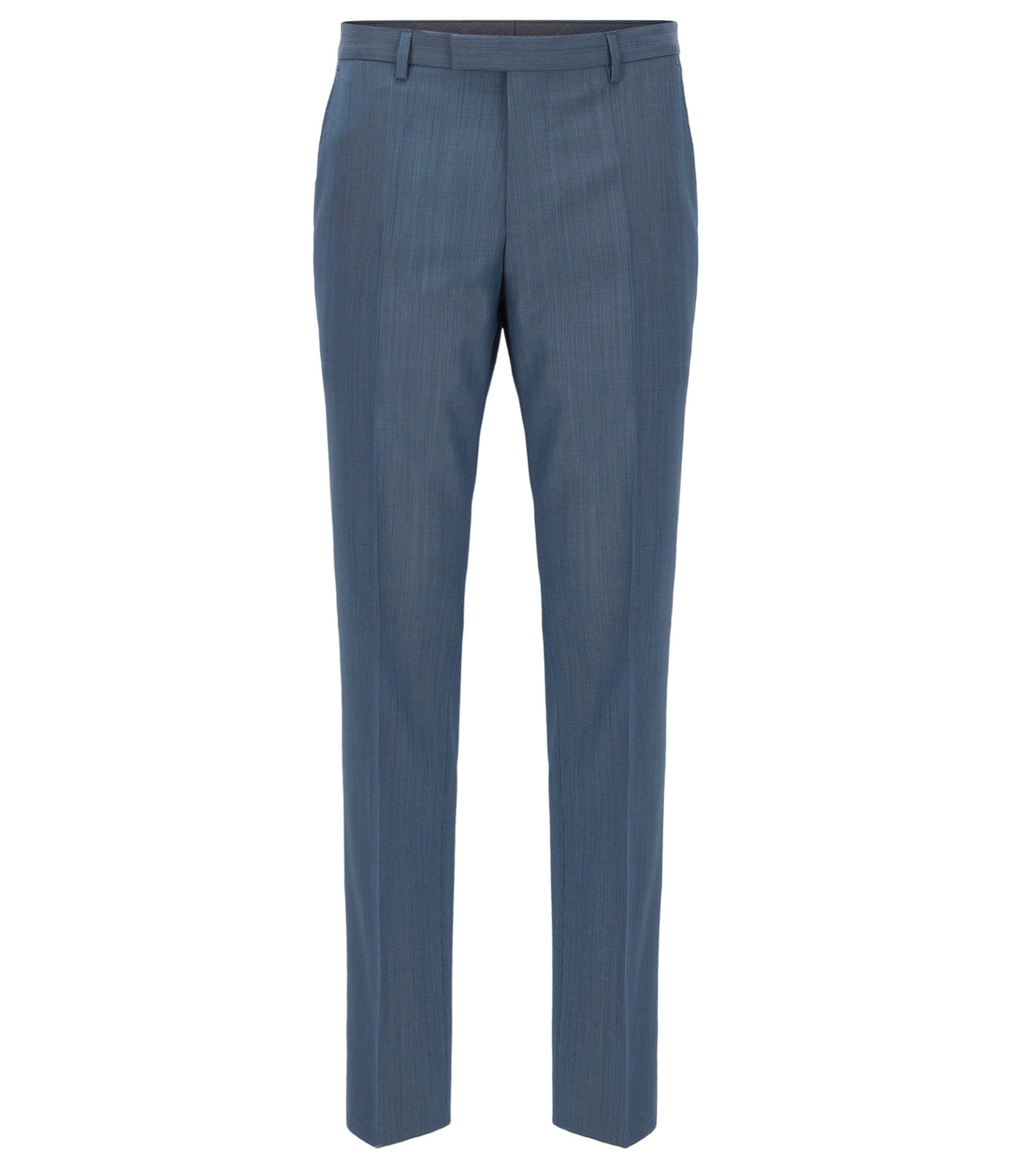 Regular-fit broek van scheerwol, Blauw
