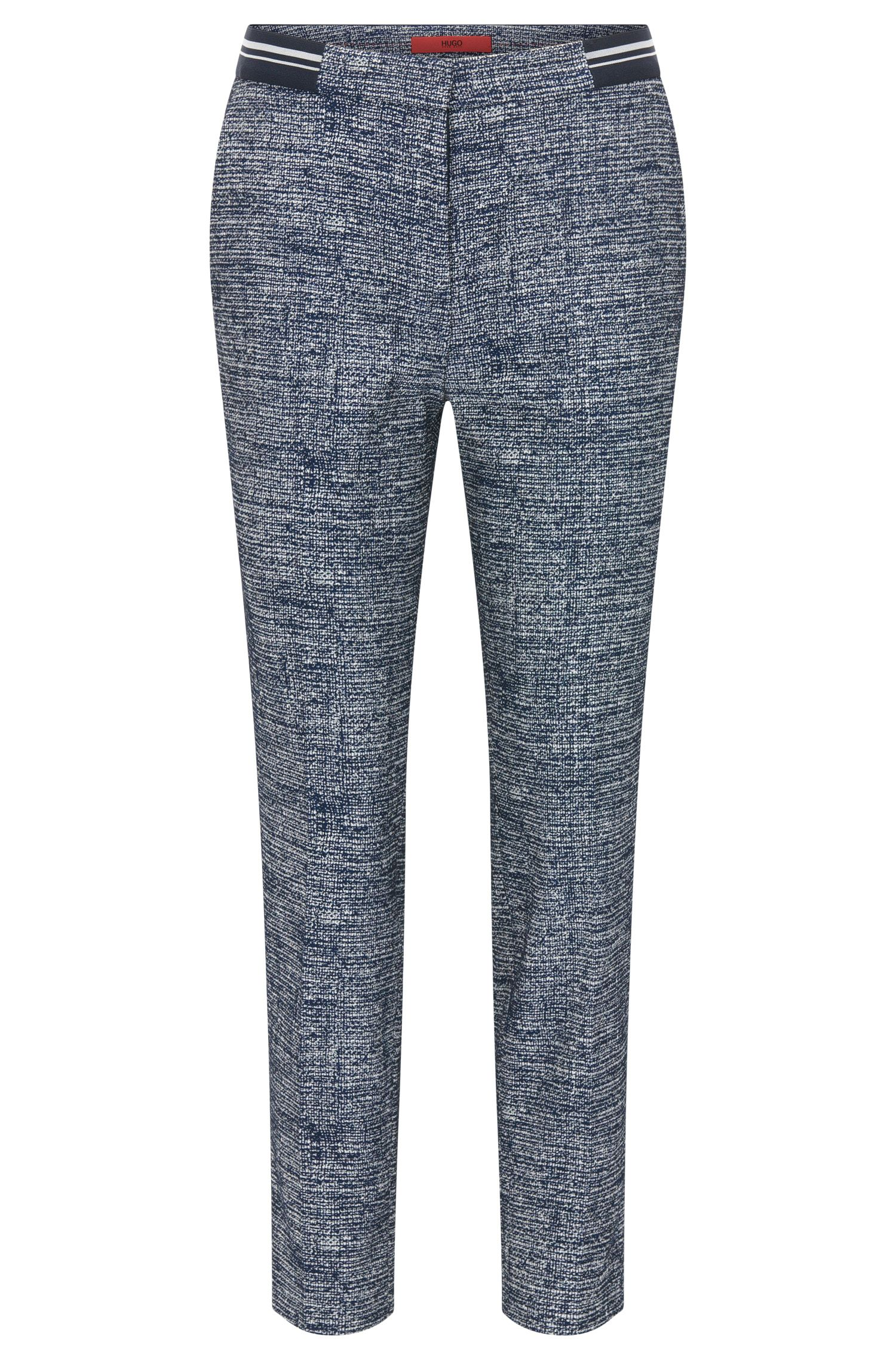 Pantaloni slim fit in tweed di misto cotone