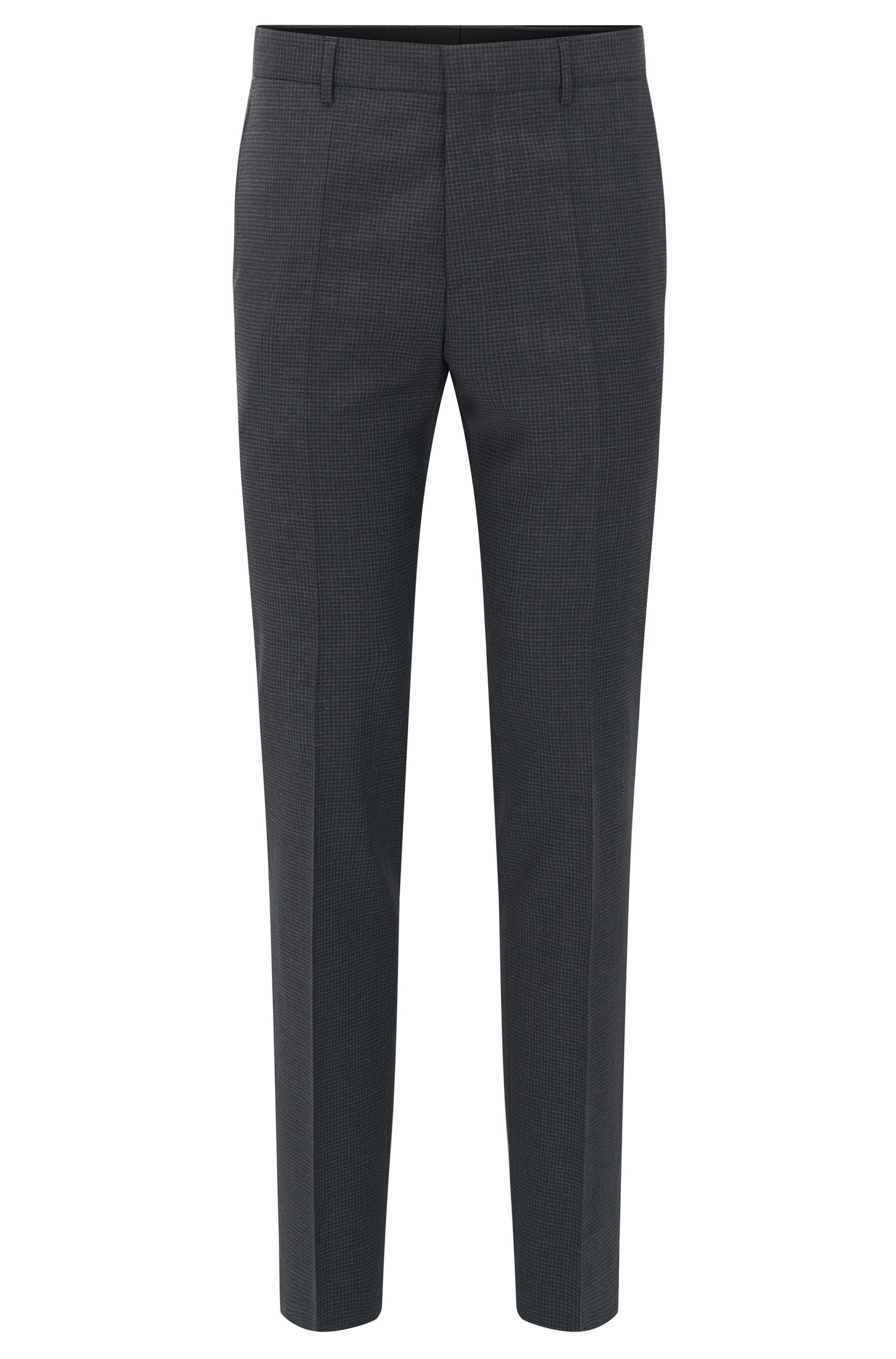 Slim-fit check trousers in virgin wool