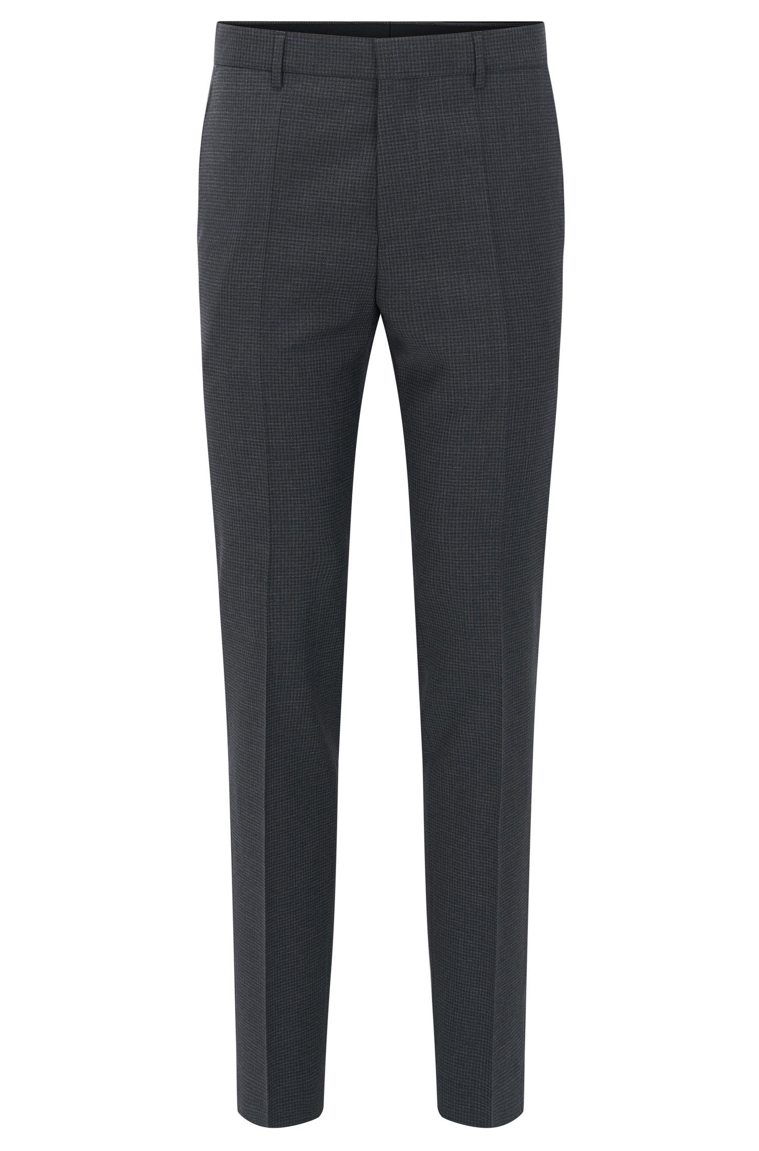 Pantalon Slim Fit en laine vierge à motif à carreaux