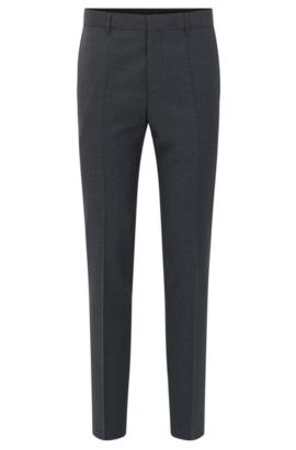 Slim-fit check trousers in virgin wool, Open Grey