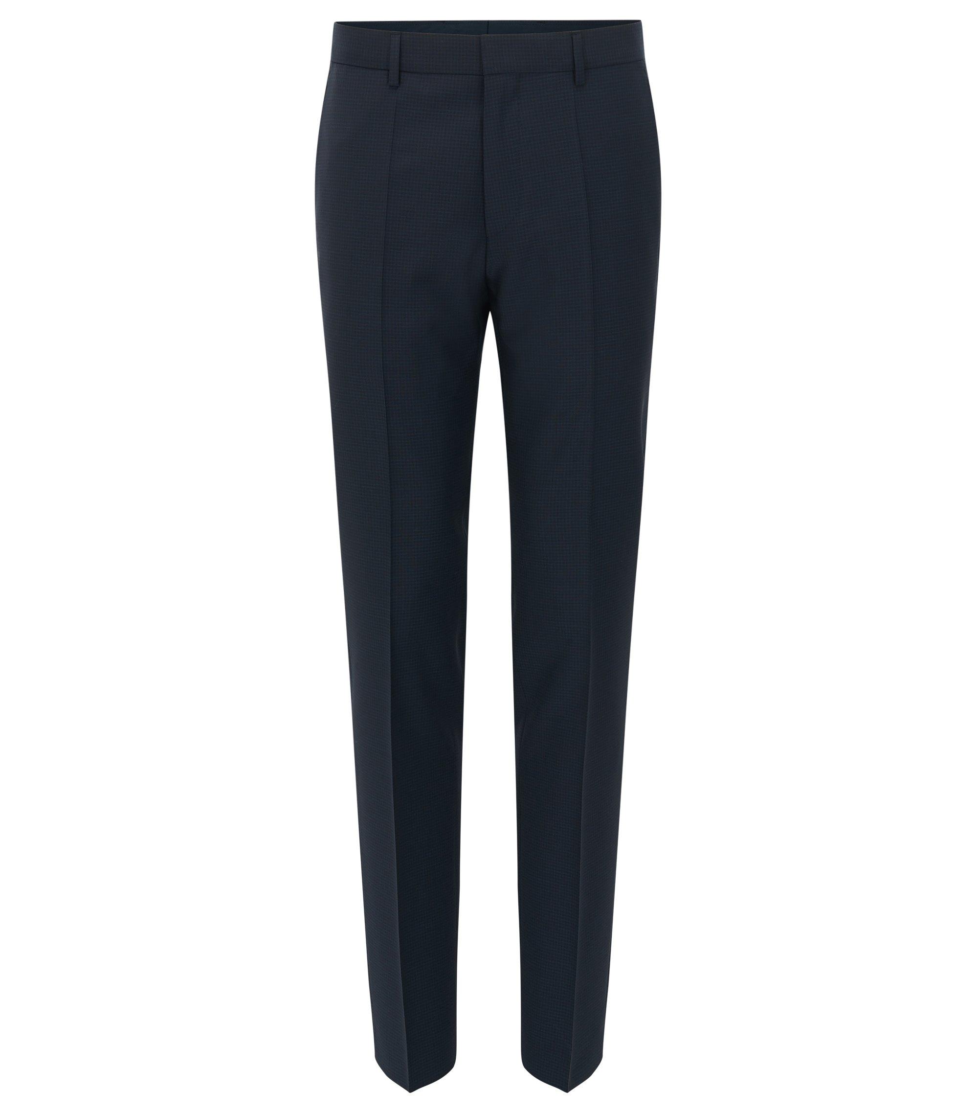 Pantaloni slim fit in lana vergine a quadri, Blu scuro