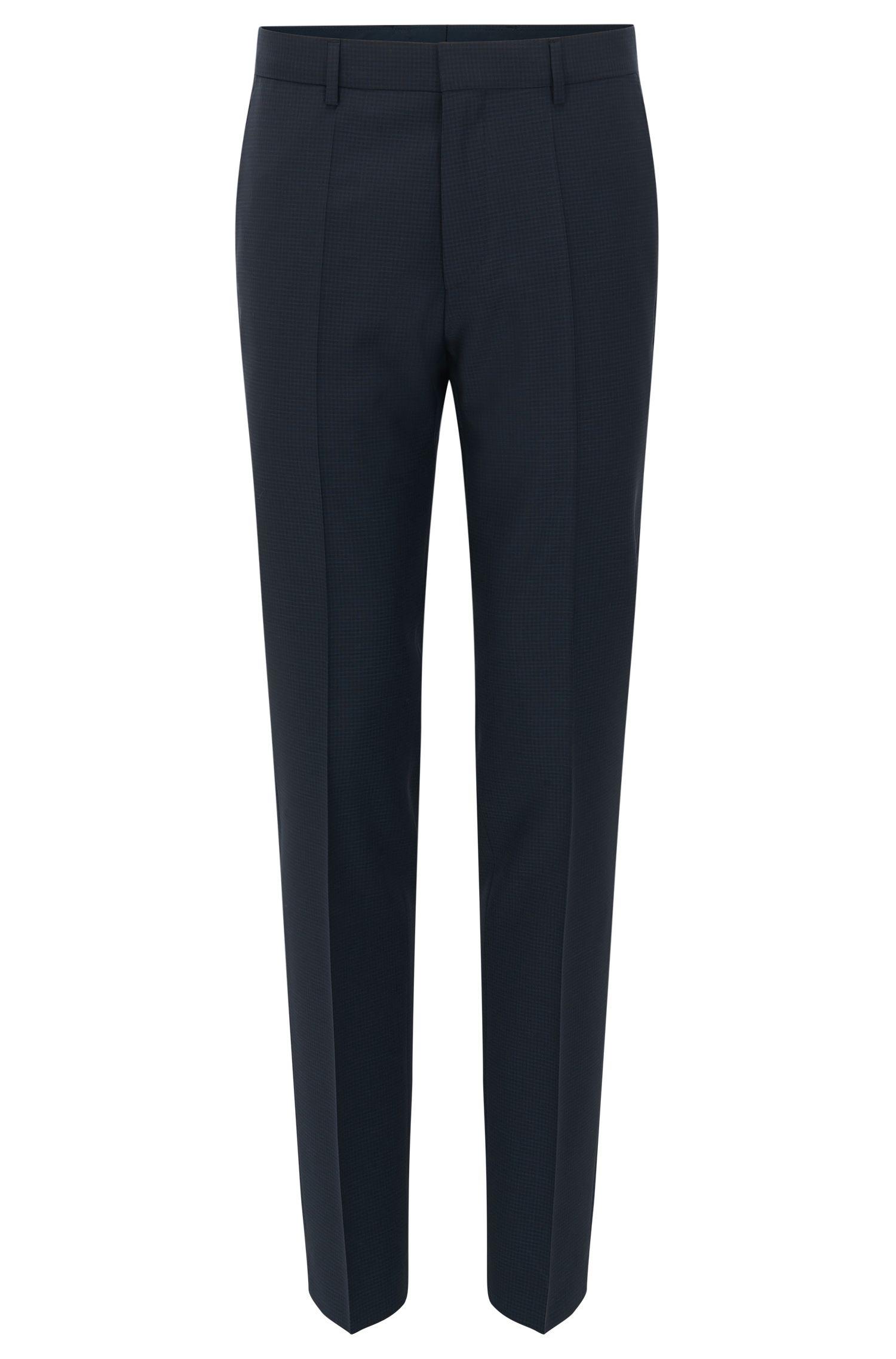 Slim-fit broek van scheerwol met ruitdessin