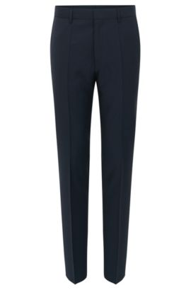 Pantaloni slim fit in lana vergine a quadri, Blu scuro