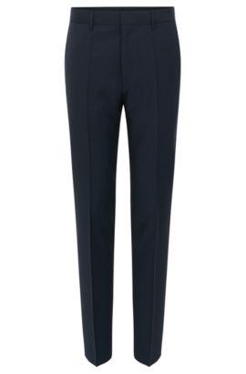 Pantalon Slim Fit en laine vierge à motif à carreaux, Bleu foncé