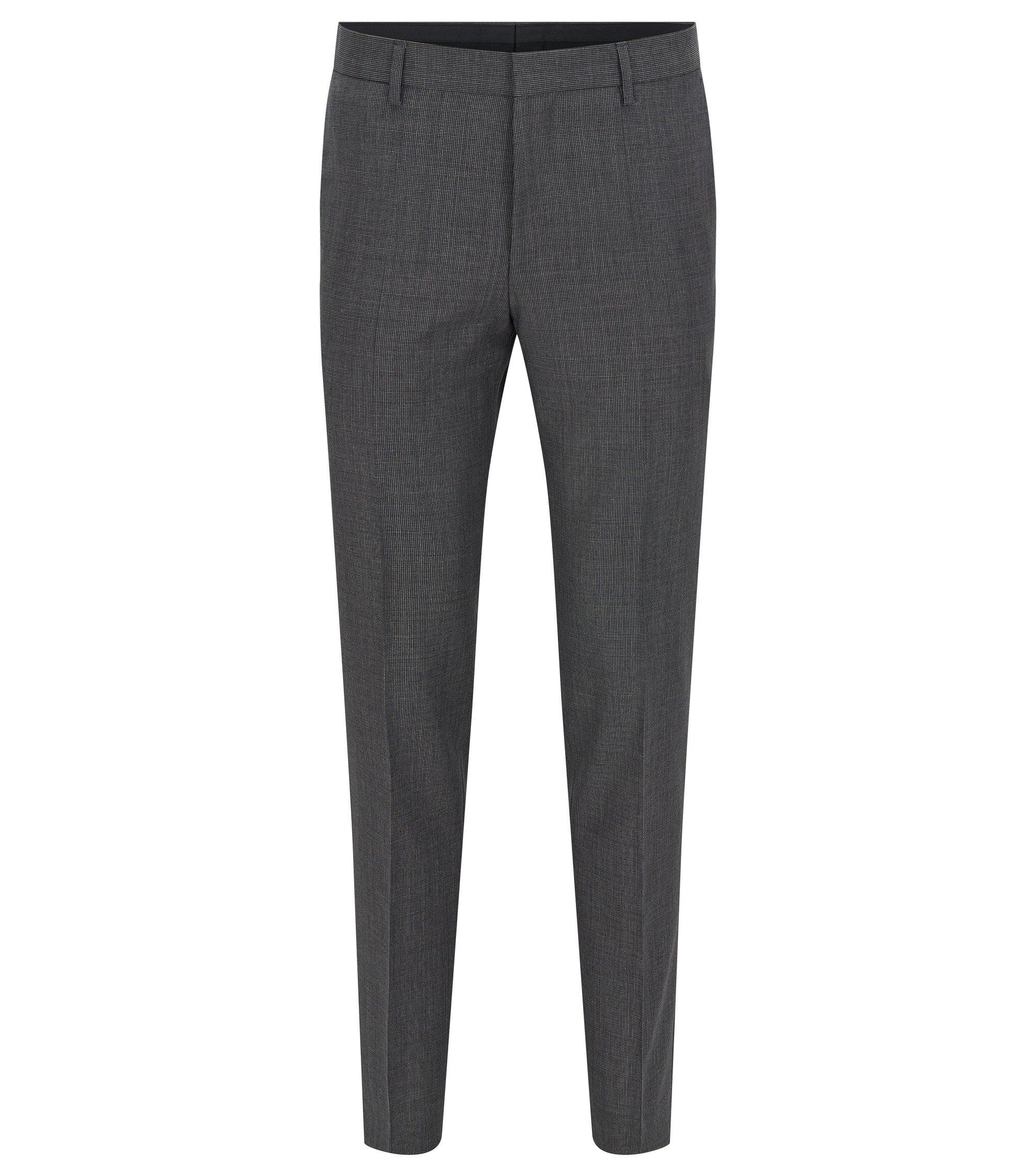 Slim-Fit Hose aus italienischer Schurwolle mit Mikro-Struktur, Grau
