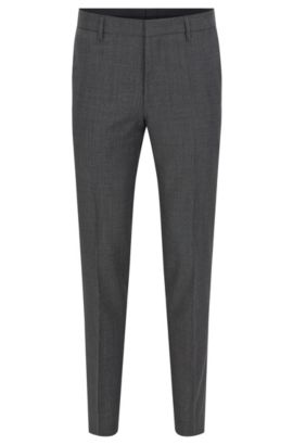 Slim-fit trousers in Italian virgin wool, Grey