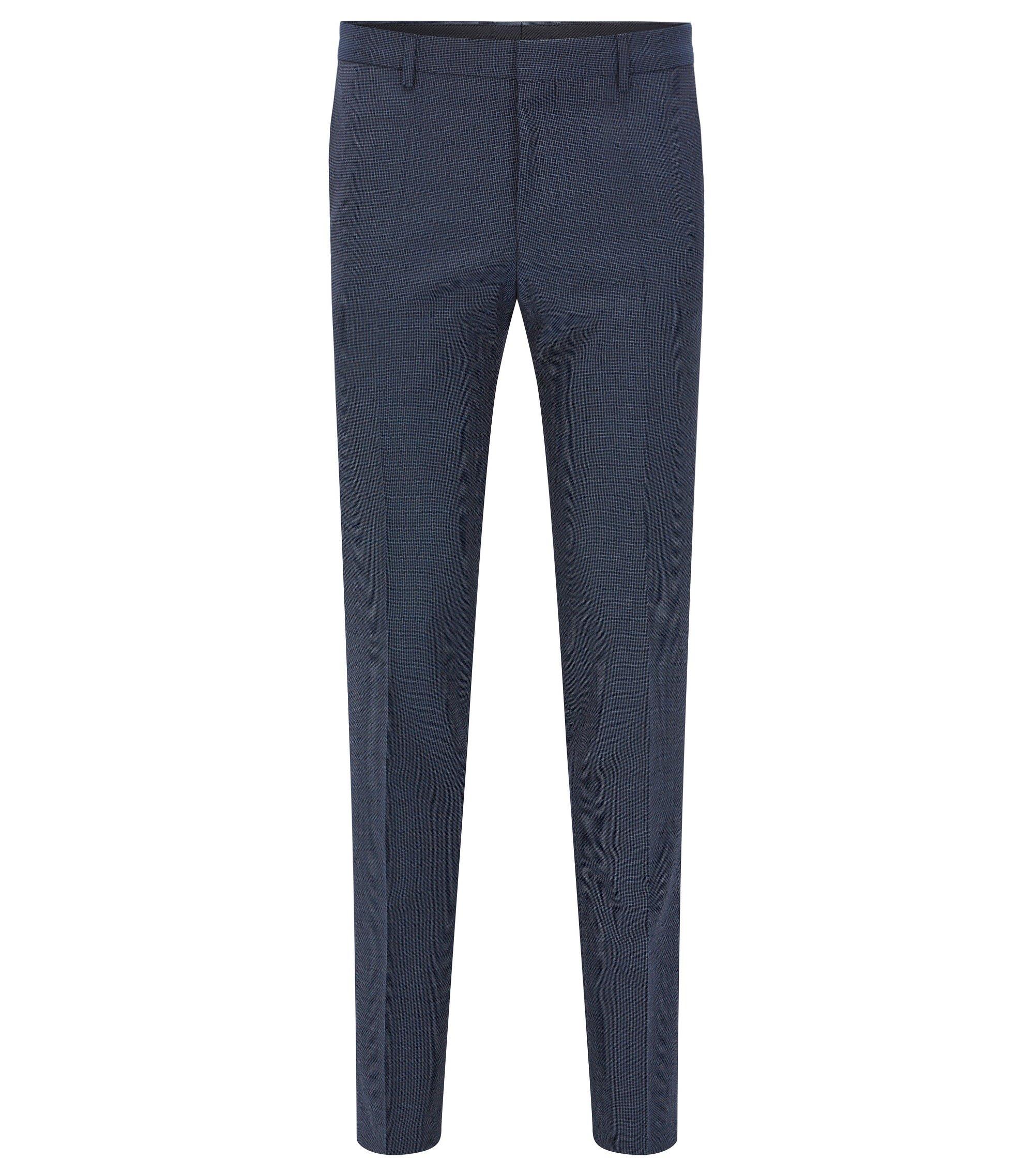 Slim-fit broek van Italiaanse scheerwol, Donkerblauw