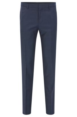 Pantaloni slim fit in lana vergine italiana, Blu scuro