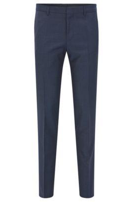 Pantalon Slim Fit en laine vierge italienne, Bleu foncé