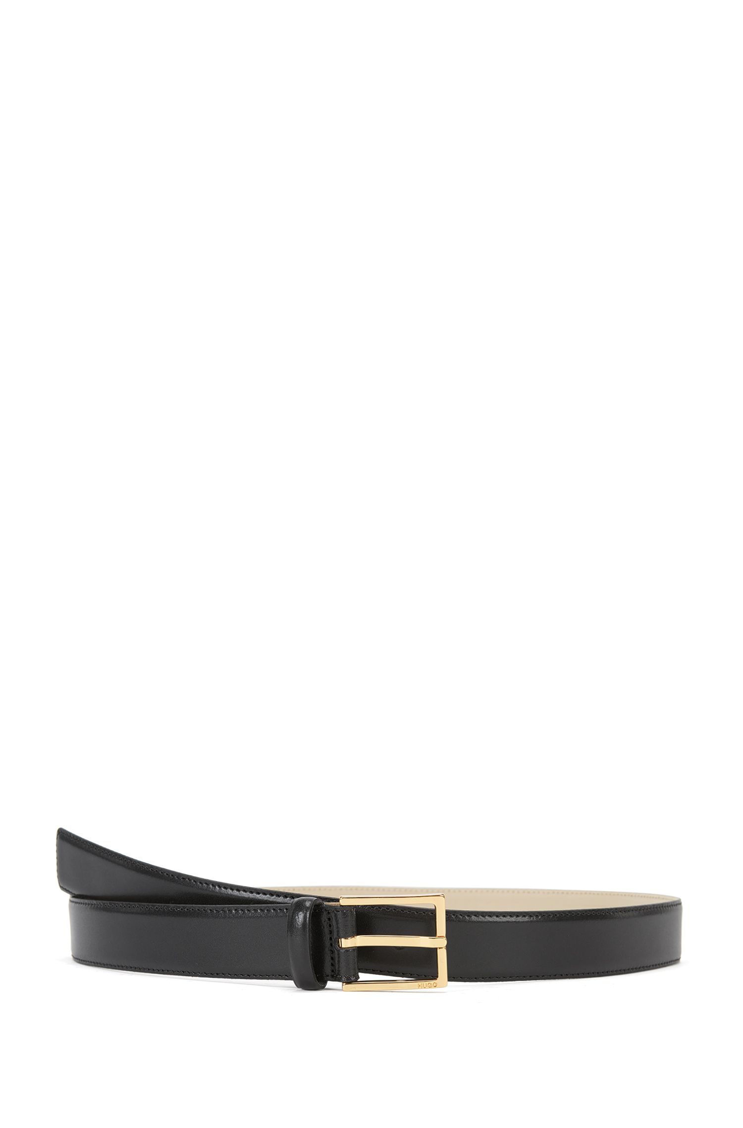 Italian-made business belt in smooth leather, Black