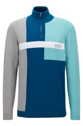 Regular-fit sweater in a stretch cotton blend, Blue