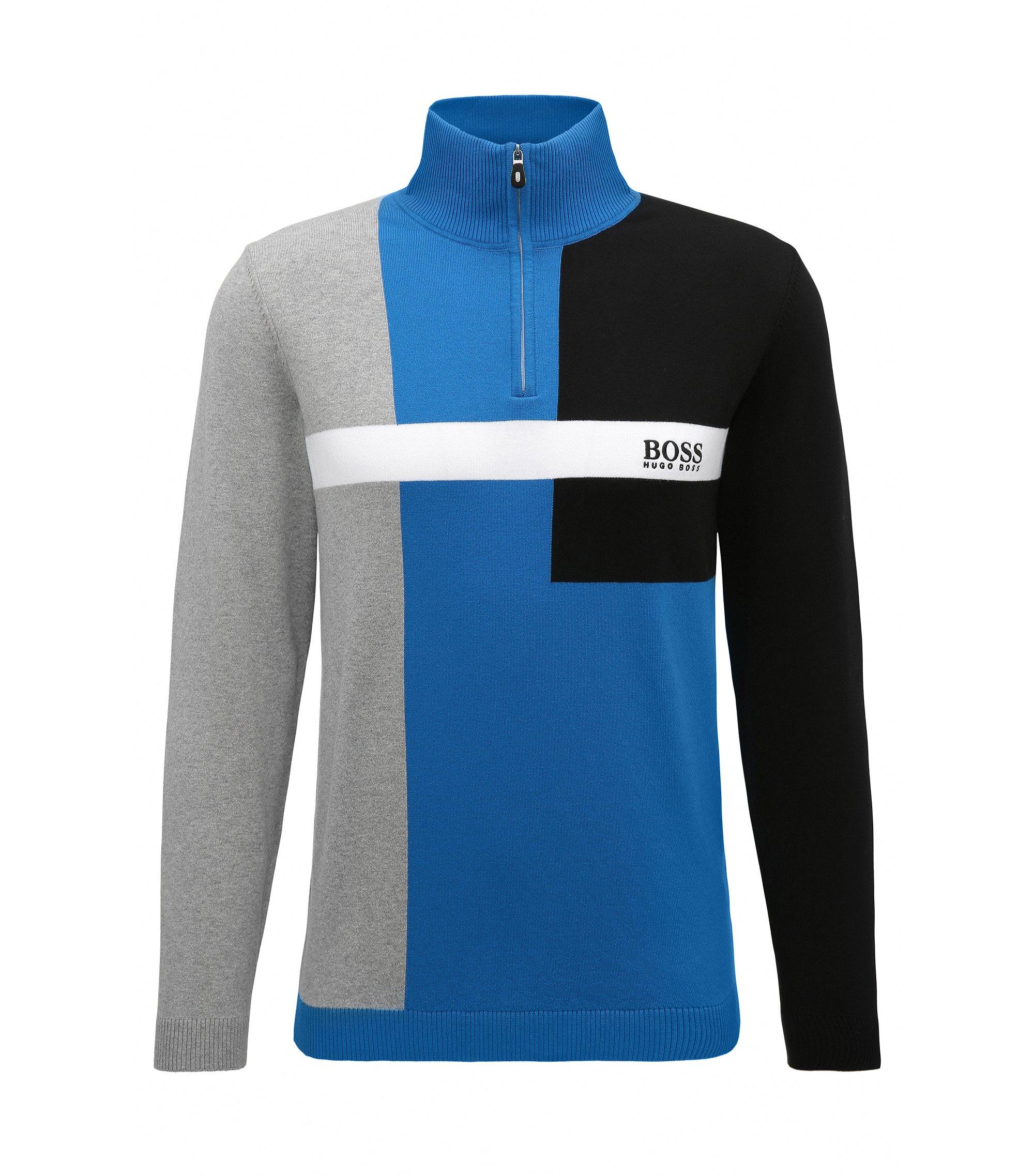 Maglione regular fit in misto cotone elasticizzato, Blu