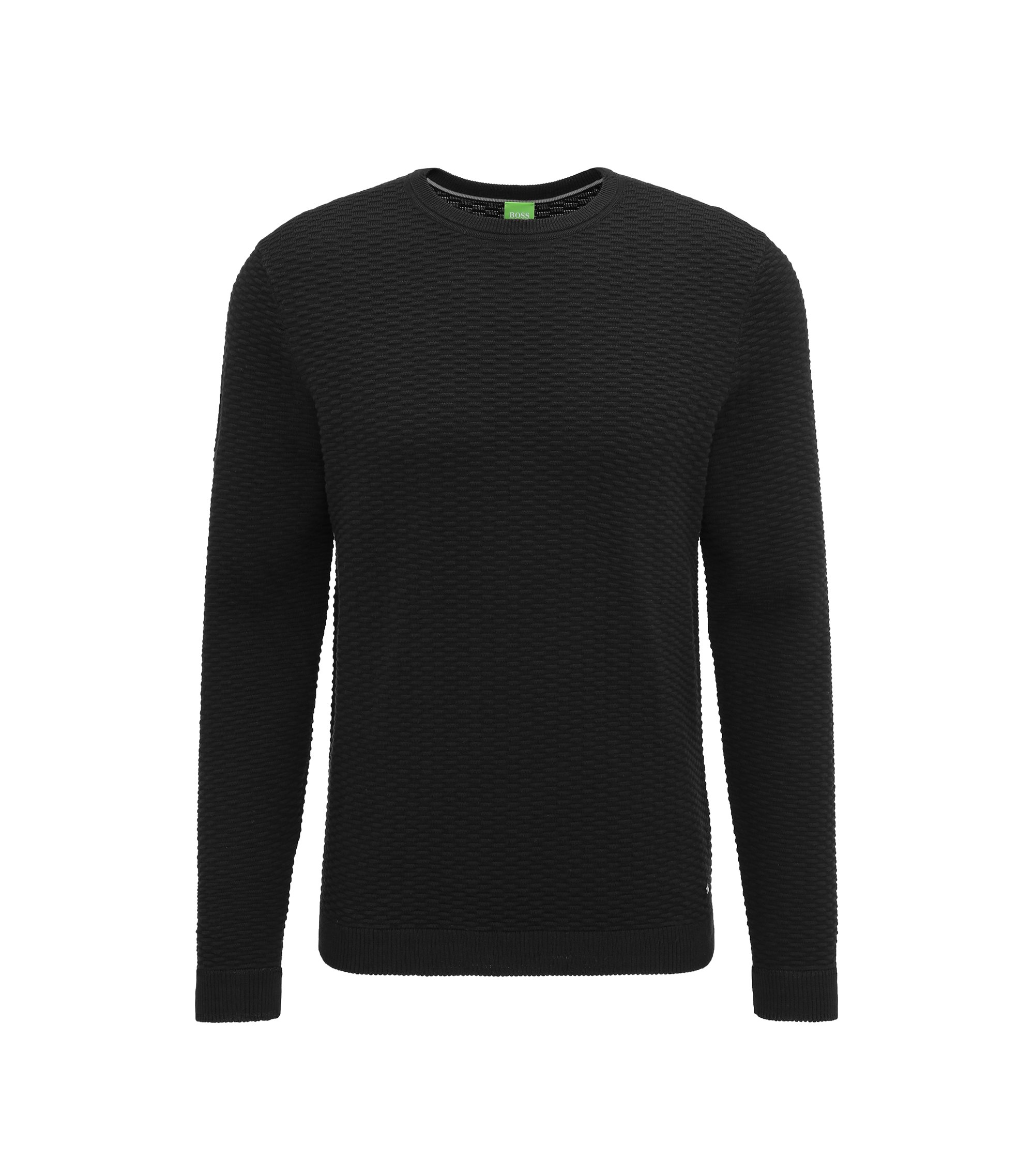 Regular-fit sweater in a structured cotton blend, Black