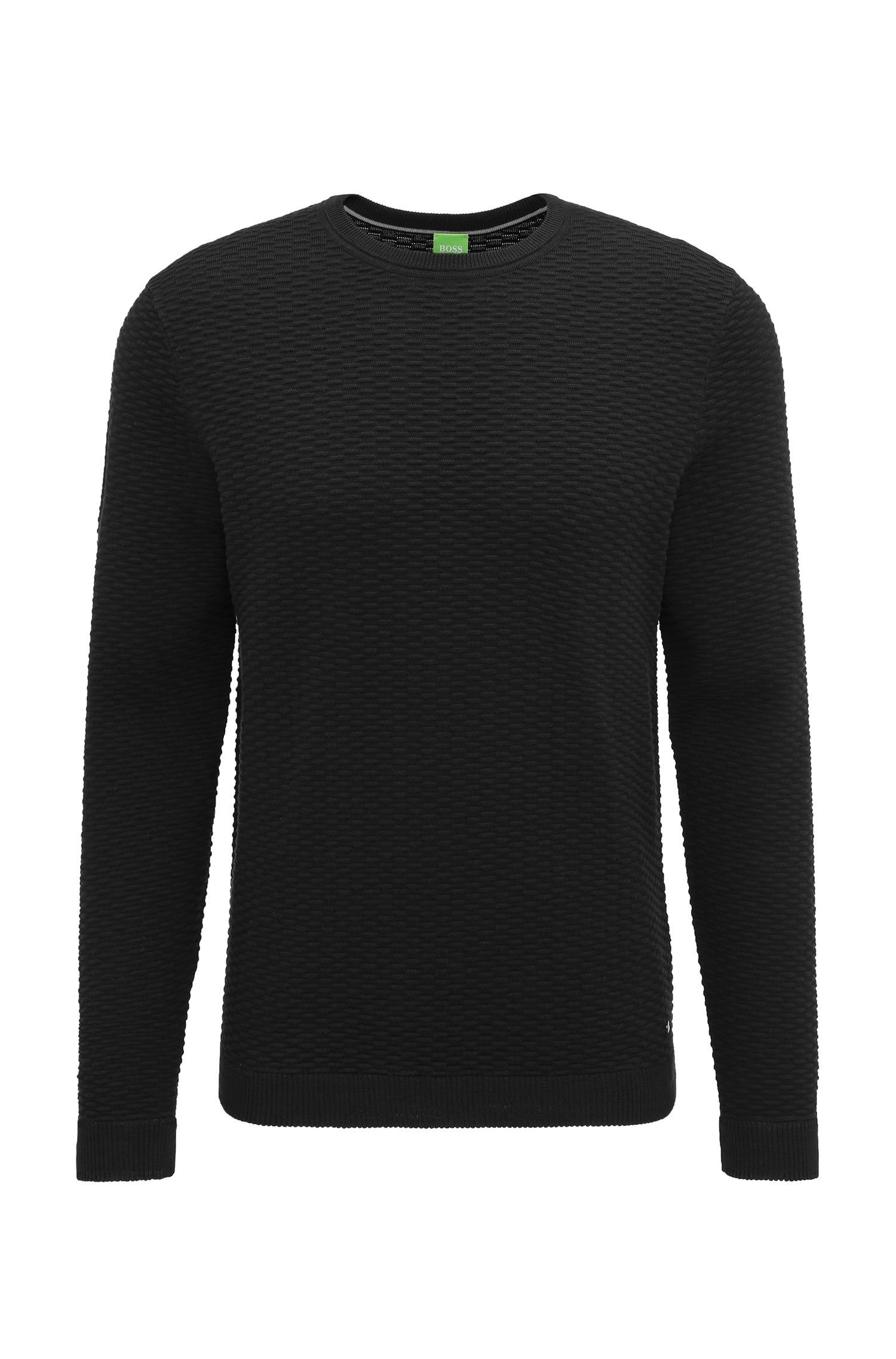 Regular-Fit Pullover aus strukturiertem Baumwoll-Mix
