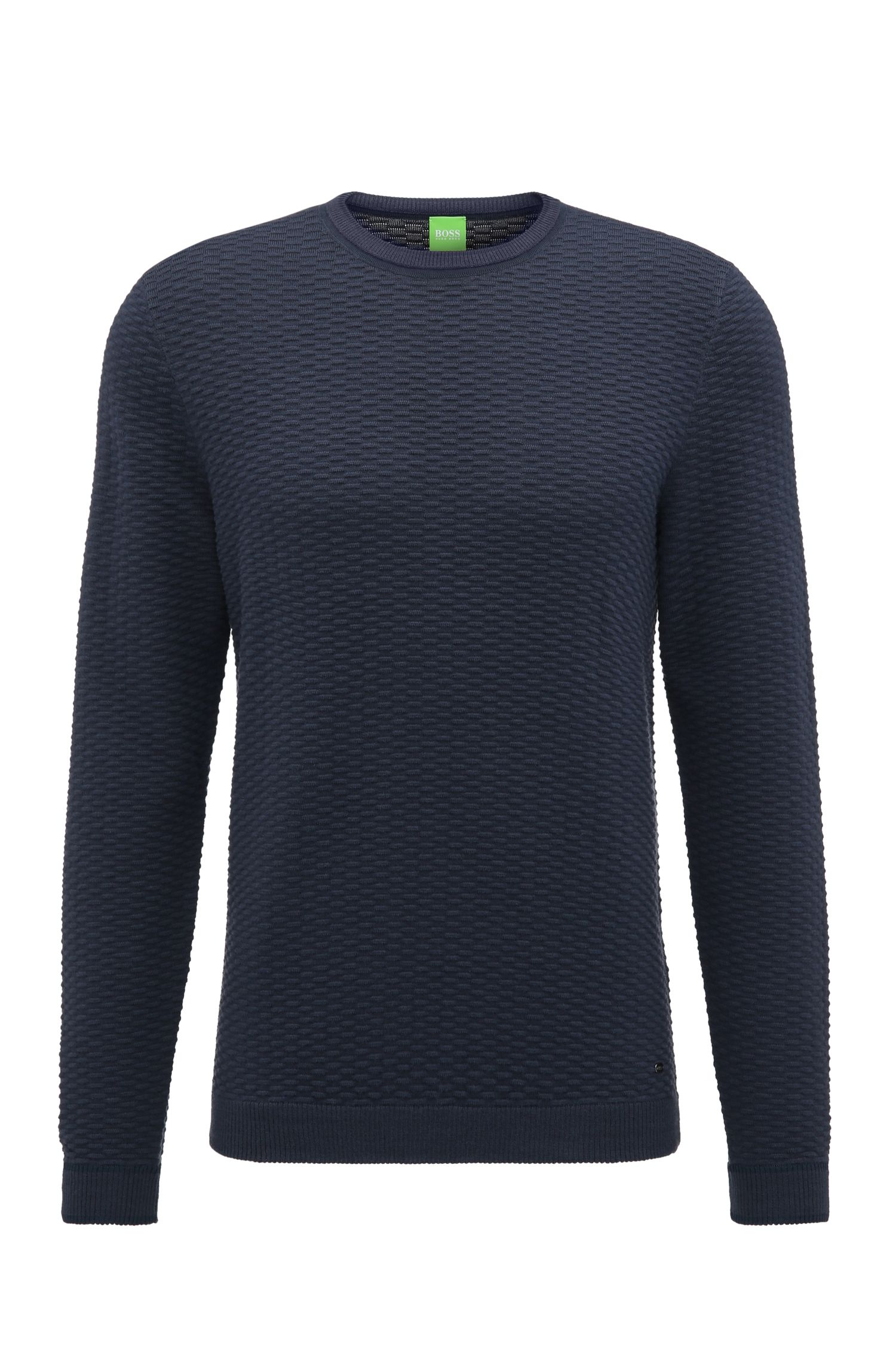 Regular-fit sweater in a structured cotton blend