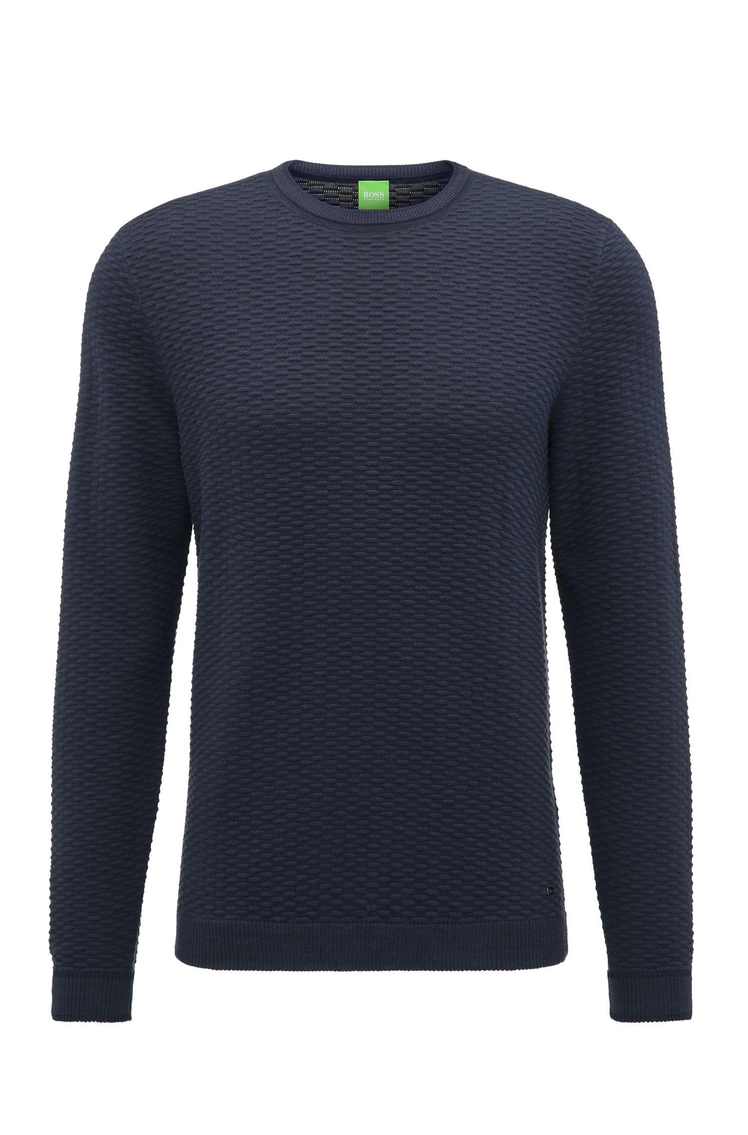 Regular-fit trui van een gestructureerde katoenmix