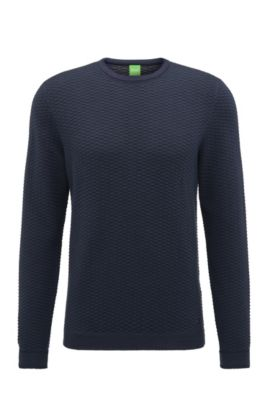 Regular-Fit Pullover aus strukturiertem Baumwoll-Mix, Dunkelblau