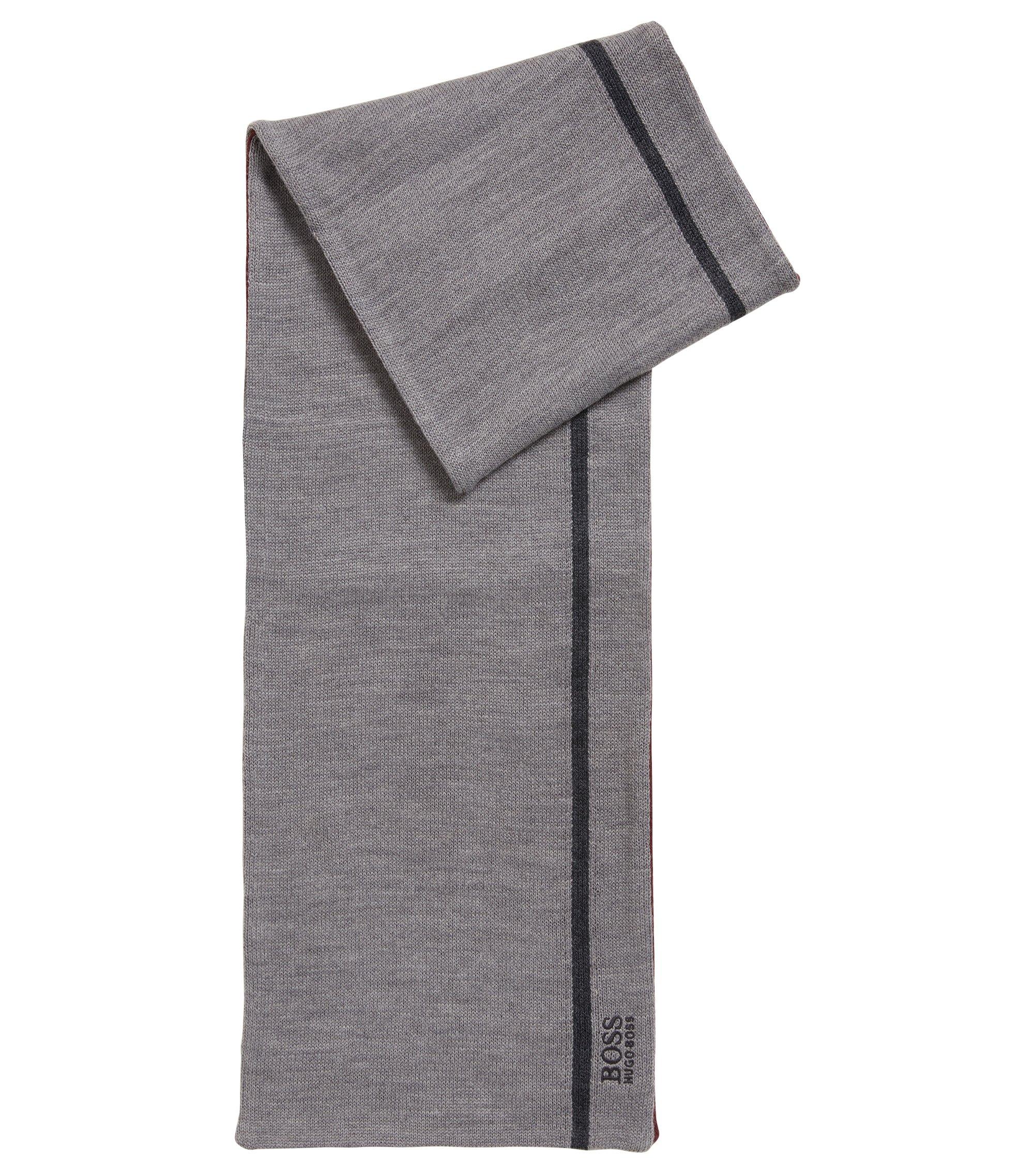 Sjaal van dubbellaags materiaal met logostiksel, Grijs