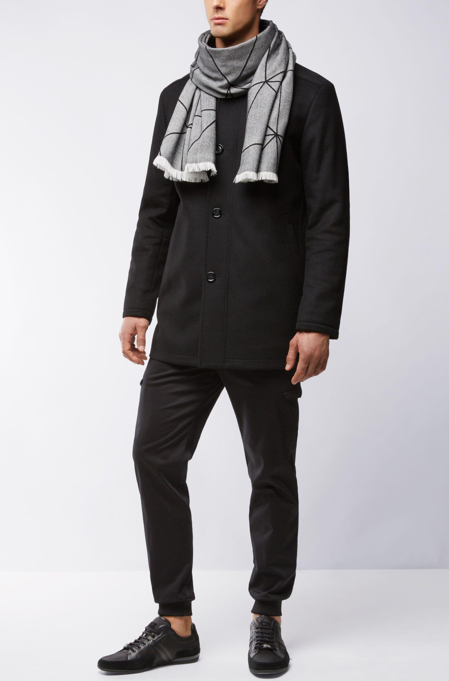 Sjaal van een geborstelde katoenmix met dessin, Zwart