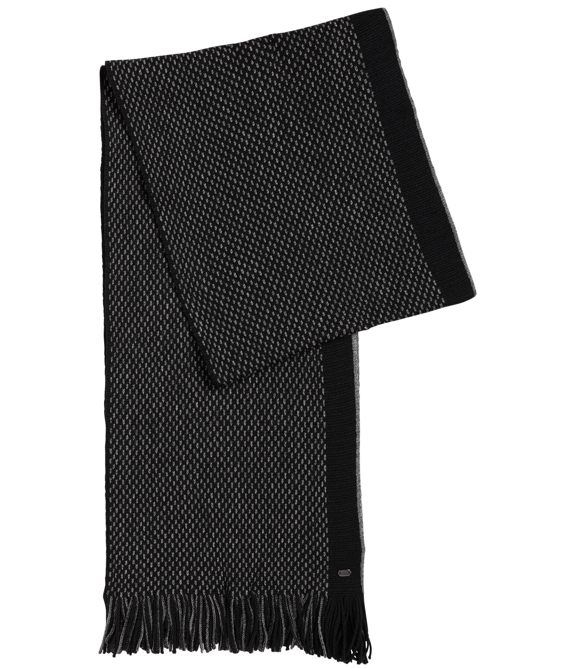 Sjaal van scheerwol in tricotsteek, Zwart