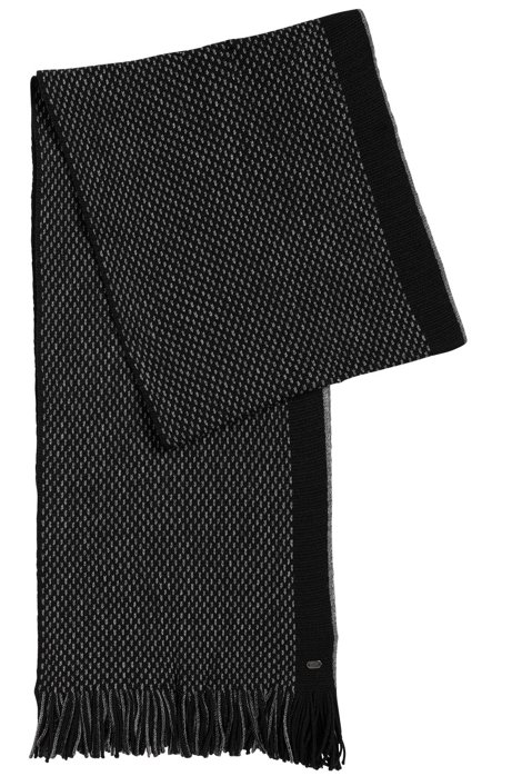 Warp-knit scarf in virgin wool, Black