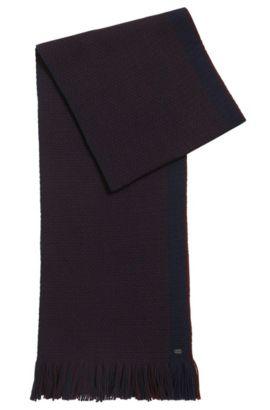 Bufanda de punto por urdimbre en lana virgen, Azul oscuro
