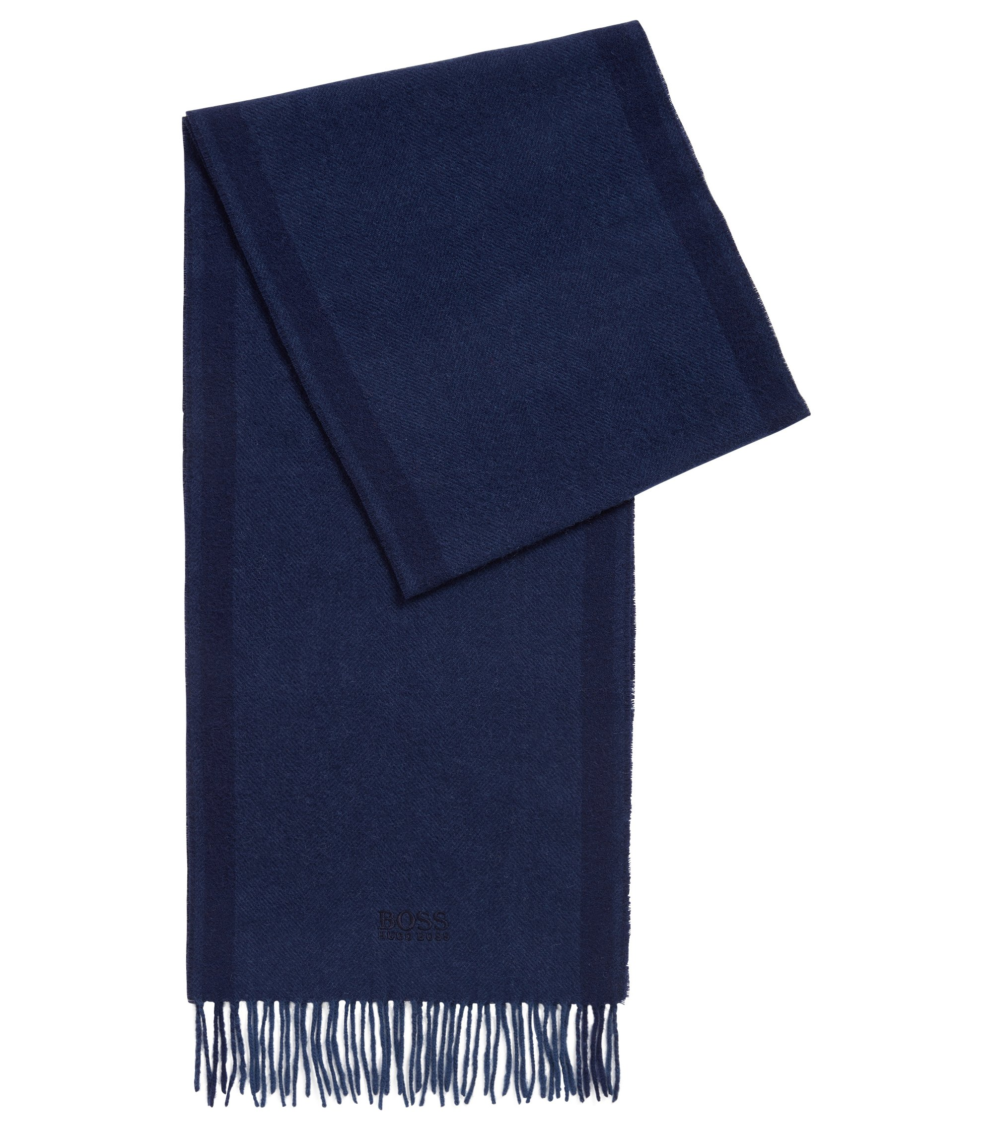 Wool-blend scarf with herringbone jacquard, Dark Blue