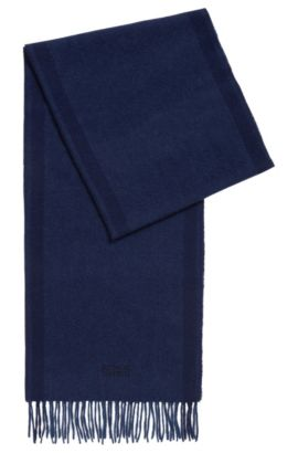 Wool-blend scarf with herringbone jacquard, Dark Blue