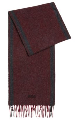 Wool-blend scarf with herringbone jacquard, Red