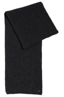 Cable-knit scarf with metal logo, Anthracite