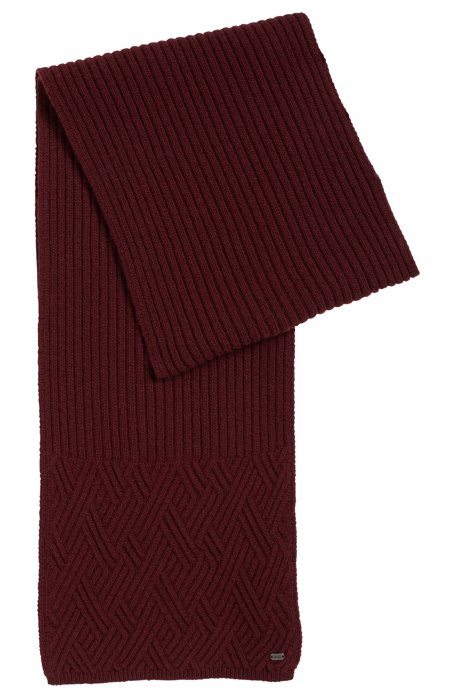 Cable-knit scarf with metal logo, Dark Red
