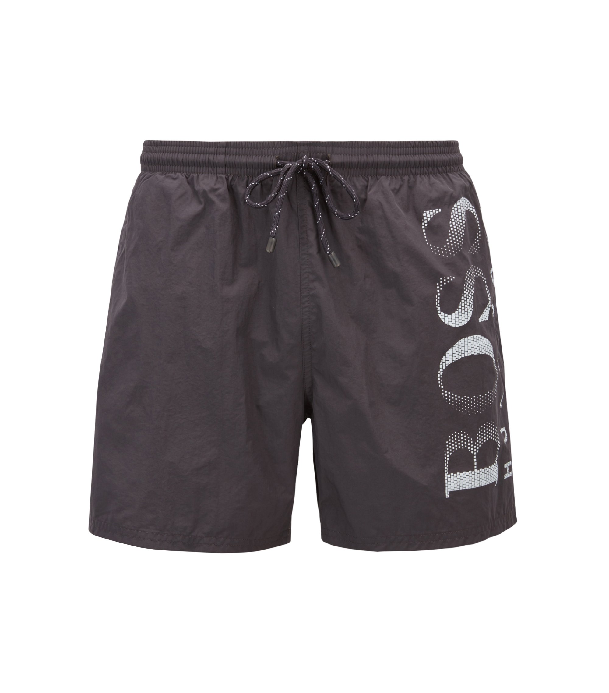 Logo-print swim shorts in technical fabric, Anthracite