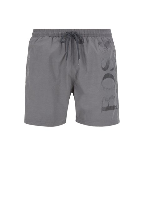 Logo-print swim shorts in technical fabric, Dark Grey