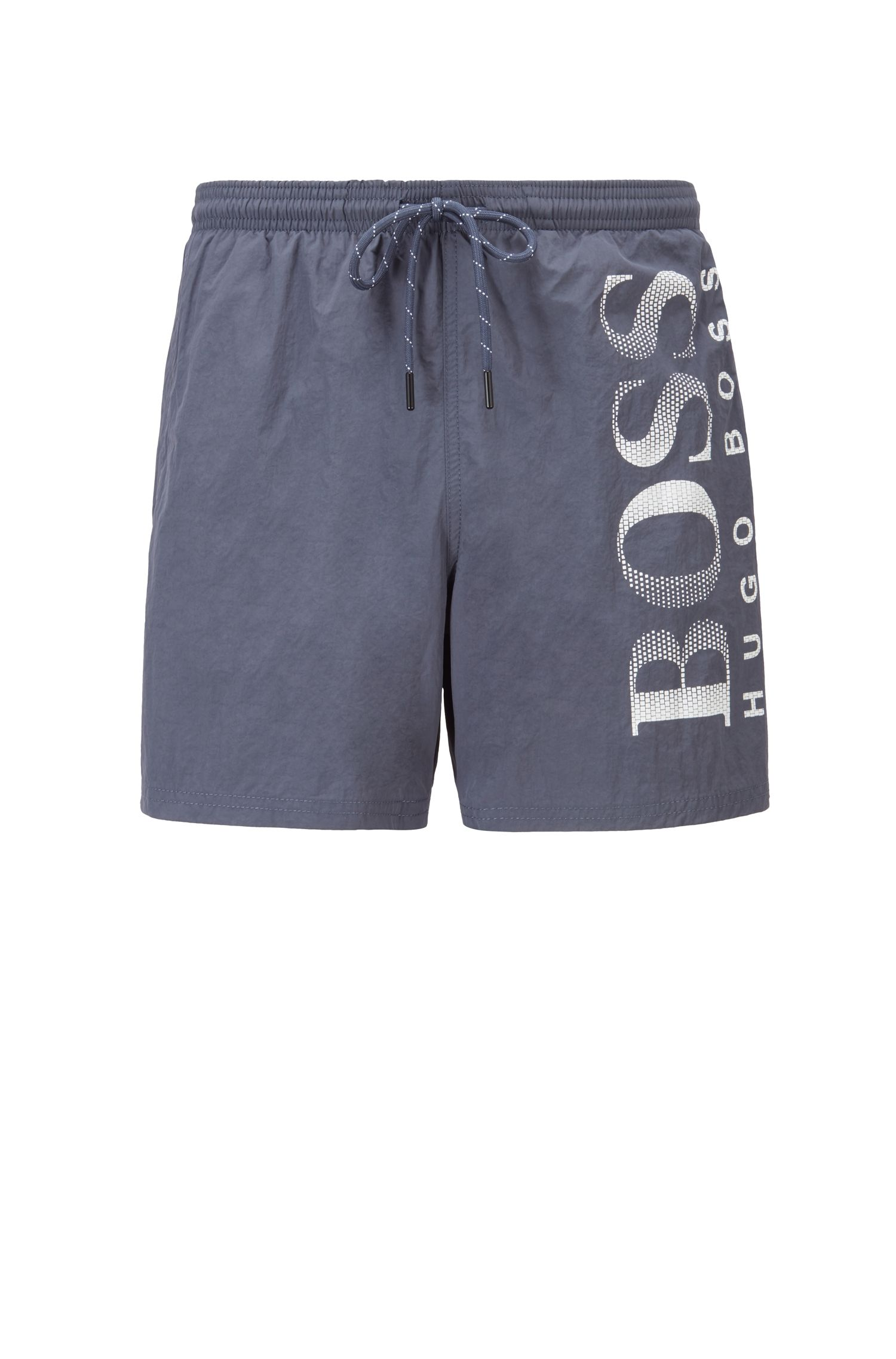 Logo-print swim shorts in technical fabric, Dark Grey