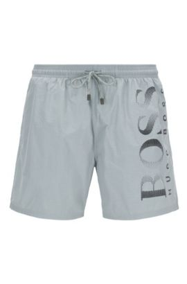 Logo-print swim shorts in technical fabric, Silver