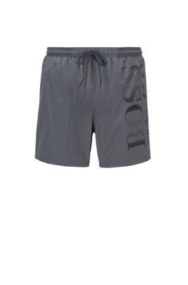 Logo-print swim shorts in technical fabric, Light Grey