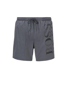 Logo-print swim shorts in technical fabric, Light Grey