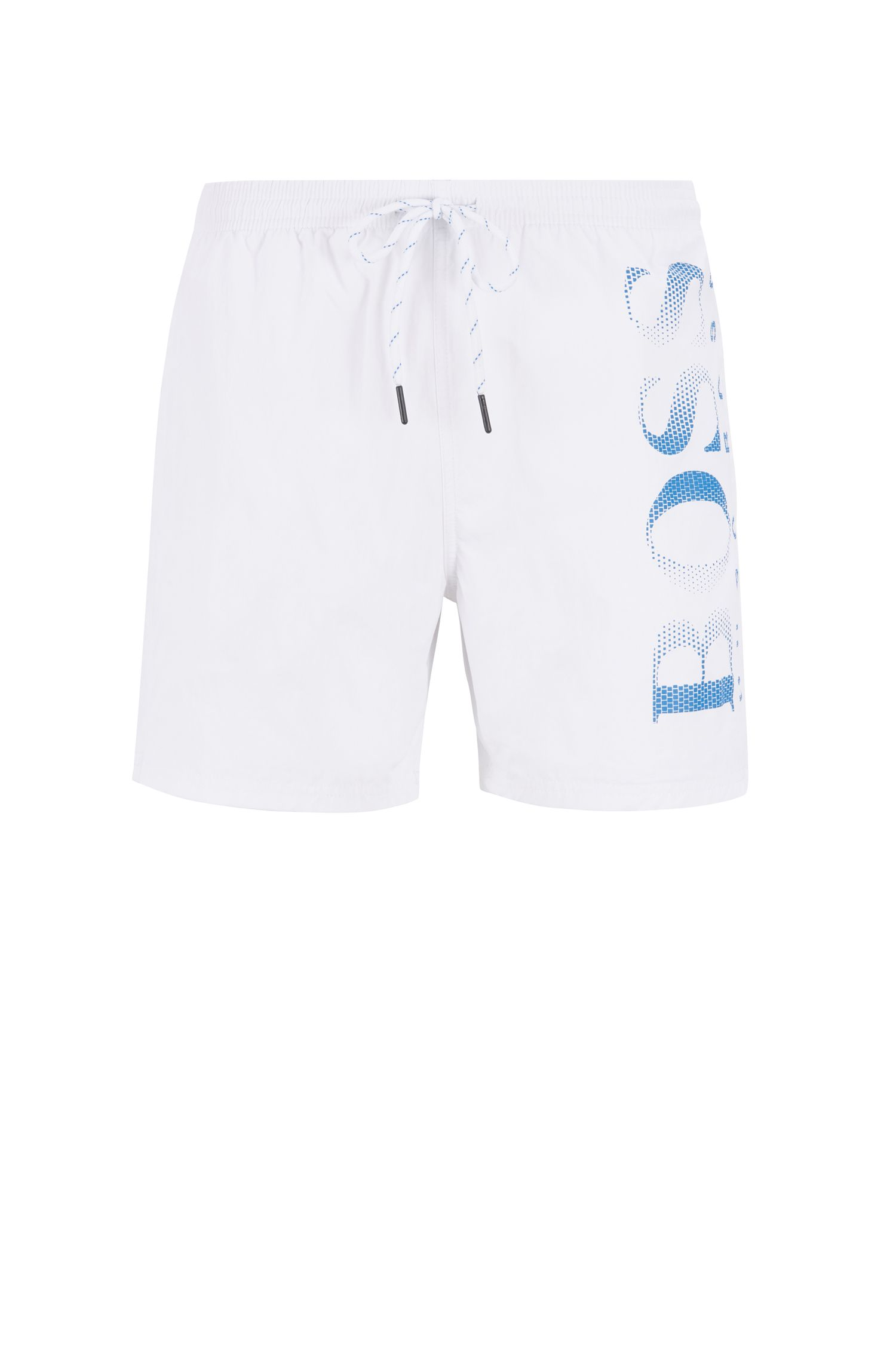 Logo-print swim shorts in technical fabric, Natural