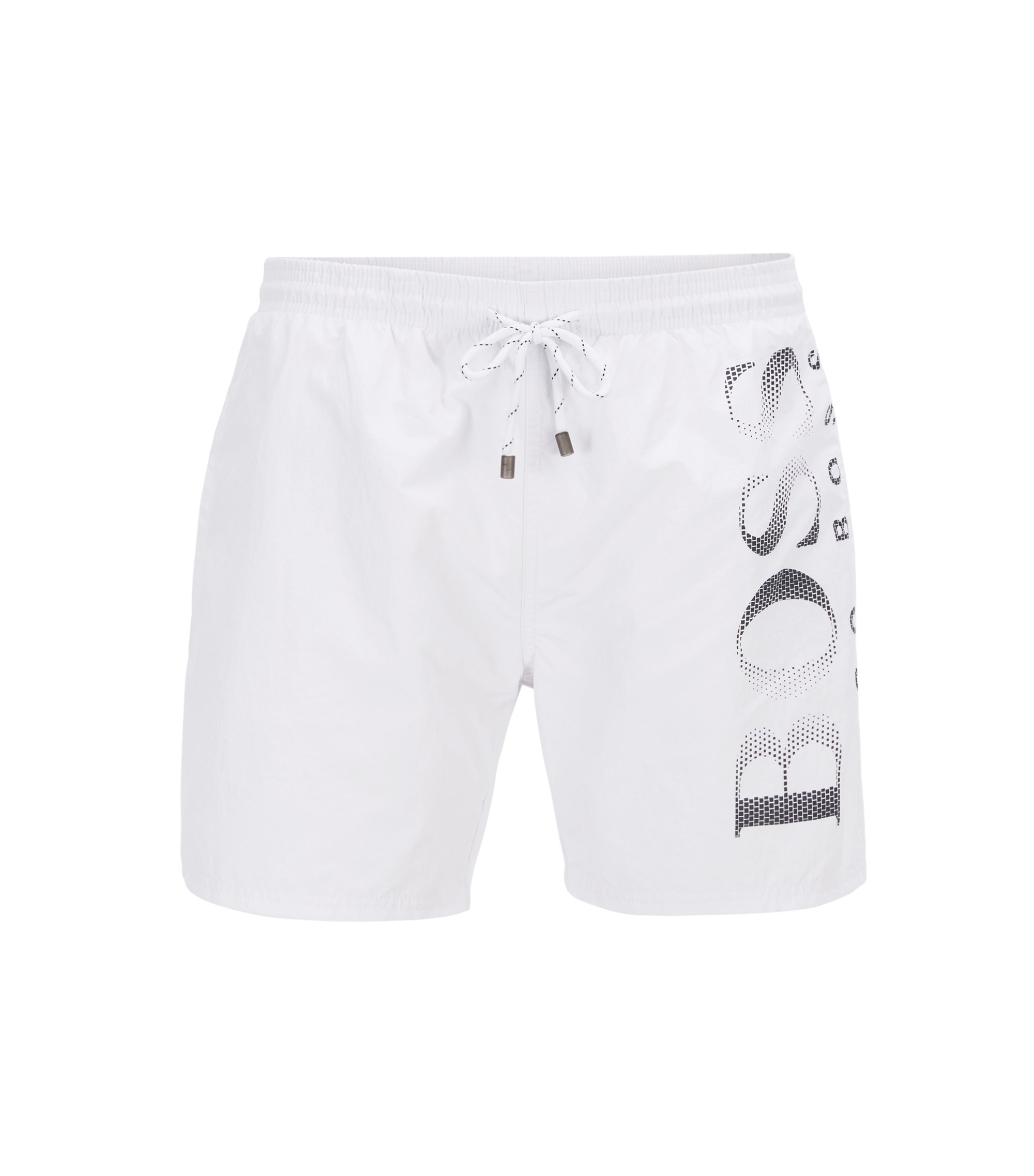 Logo-print swim shorts in technical fabric, Natural
